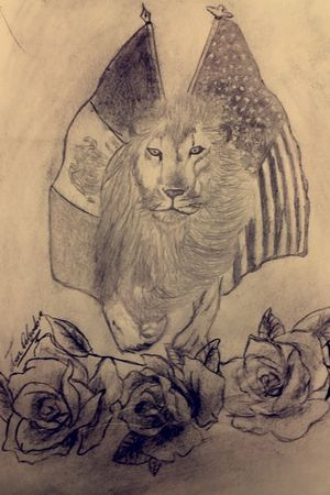 #pencildrawing #mexican #flags #lion #roses