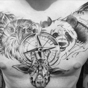 #tattoo #rodolphe #mtl #montreal #hochelaga #ink #inked #inkman #inkmaster #inkedmodel #animals #world #bear #eagle #shark #panda #giraffe #compasstattoo #compass #artist #tattooed #tattooartist #chesttattoo #chest #talent #canada #quebec