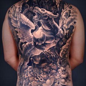 #backpiece #fullback #blackwork #shanghai#chineseartist #rptattoo#gangshao#myth#ancient