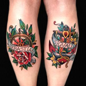 Couple of pieces from last year dine @royaltattoo #royaltattoo #royaltattoodenmark #traditionaltattoo #anchor #roses