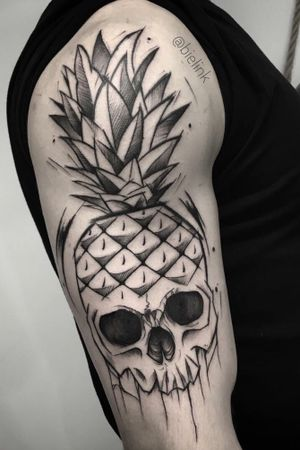 #skull #skulltattoo #pineapple #darkartists #polandtattoos #sketchtattoo #blxckinktattoos #wowtattoo #black #darkartists #chorzow #katowice #tattoo #blacktattooart #blackworkers #blackartist #blxck #blxckwork #onlyblackink #onlythedarkest #iblackwork #blacktattooart #thedarkestwork