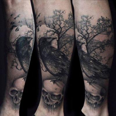 #moon #birds #crow #tree #skull #dark