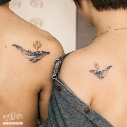 couple whale tattoo :) #whale #whaletattoo #coupletattoo #watercolortattoo