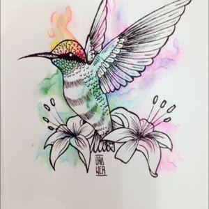 Hummingbird! #desing #humingbird #watercolor #linework #draw #drawer #drawing #tattoodesing #tattoo