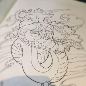 #sketch #tattooideas #japanese #japanesetattoo #linedrawing #snake #flower