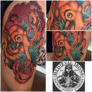 Had a blast with this kraken!!! #tats #tattoos #tattoo #art #ink #guyswithink #girlswithink #plugs #beard #phucstyxtattoosupply #steelfangstattoosupply #pridetattooneedles #electrumstencilprimer #electrum #workingclassmetals #teammedieval #teamelectrum