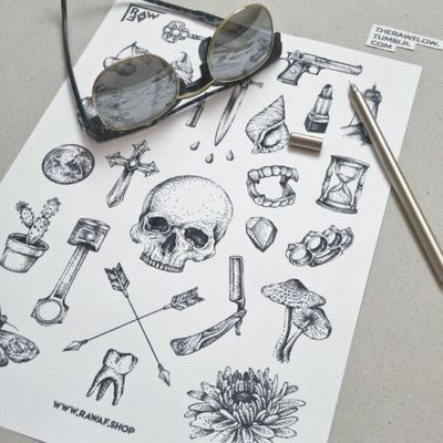 """Bad life"" tattoo flash sheet with donzens of badass tattoo designs. Download the file or order as temporary tattoo sheet. www.rawaf.shop #skull #tooth #hourglass #cross #moth #mushroom #flower #dagger #gun #cherry #key #arrows"