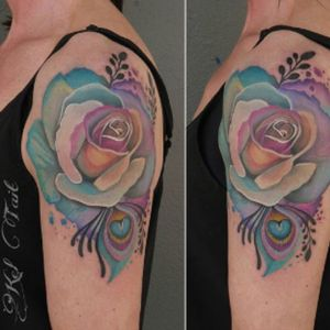#peacockrose #peacockfeather #rose by #KelTait @kel.tait.tattoo #beautifulcolors #color #flower #floral #botanical #leaf #watercolor