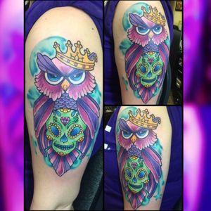 Owl #owl #owltattoo #neotatmachines #pridetattooneedles #phucstyxtattoosupply #phucstyx #electrumstencilprimer #walkinwarrior #batonrouge #batonrougetattooshop #Intenzetattooink #intenze #tattooist #tattooer #tattoo #ghettobrite2016