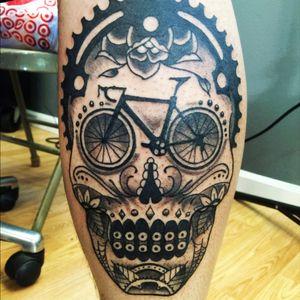 Cyclist inspired sugar skull
