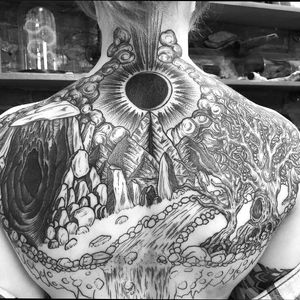 Progress on a double cover up back piece. By Ryan Roi. (Dukkhatattoo.nyc)  #blackwork #linework
