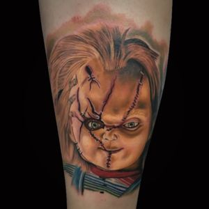 Chucky portrait booking @gritnglory april #rubenbarahona #rubenbarahonatattoo