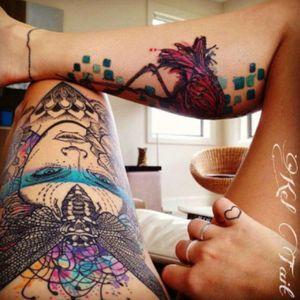 #tattoos by #artist #KelTait #keltaittattoo @kel.tait.tattoo 2 pieces - #thigh & #calf (which is still #healing ) & a #finger #tattoo - #moth #portrait #flower #floral #heart #watercolor #dotwork #abstract