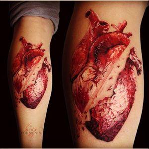 By Vlad Tokmenin  WOW, just WOW. #anatomicheart #tattoo #armtattoo #bigtattoo #awesome #loveit #redink #heart #brokenheart