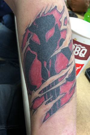 Mandalorian skull with ripped skin by Dawn Greenwood. #mandalorian #skull #rippedskin