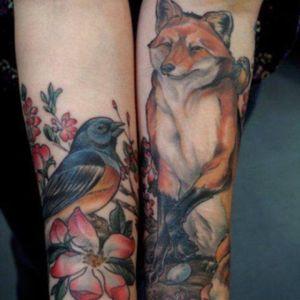 Raven and Fox tattoo #fox #raven