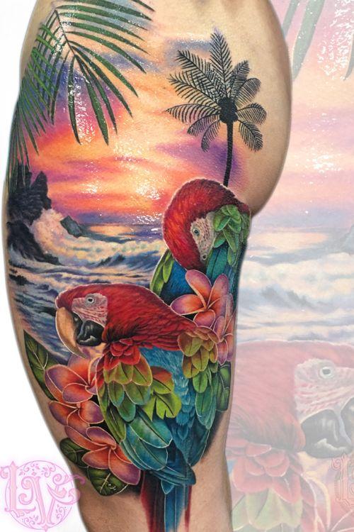 Macaws and waves, done over 3 days at the Calgary tattoo show.  #tattoo #tattoos #ink #inked #inkedup #tattooartist #tattooideas #tattooidea #amazingtattoo #amazingtattoos #crazytattoos #besttattoos #inkedgirls #amazingart #rose #rosetattoo #rosetattoos #floraltattoos #flowertattoo #edmontontattoo #yegtattoo #tatuagem #tatuaje #tattoodoambassador #tattoooftheday #realismtattoo #realism #watercolour #painterly #macaw #sunset #tropics #macaws #plumeria #plumeriabeachtattoo