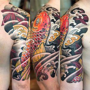 Japanese tattoo. Half sleeve. Koi and Maple leafs.