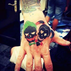Joker and harley skulls #Joker #jokertattoo #JokerTattoos #JokerandHarley #SuicideSquad
