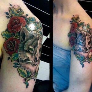 #shouldertattoo #wolftattoo #wolfhead #tattoowolf