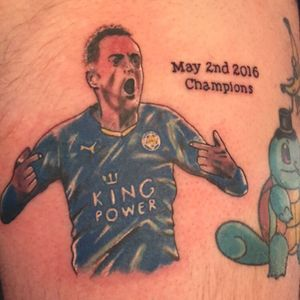 Got A celebratorily tattoo afger loosing a bet, im a liverpool fan 😂 #Football #Leicester #Jamie #Vardy #Champions #Premier #League #Funny