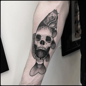 #totemica #tunguska #black #human #skull #carp #fish #tattoo #blackworkers #adrenalinktattooing