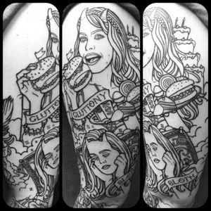 #tattoo #shaunloyer Done by Shaun Loyer @ Distinctive Body Art Studio in San Clemente CA Instagram is @inkedlife1979 or @dba_tattoo #sevendeadlysins #sleevetattoo #linework #workinprogress #pinup