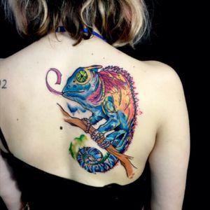 #sandrosecchin #riotattoo #oldlondonroadtattoos @oldlondonroadtattoos #chameleon #nature #watercolortattoo #illustration #graphictattoos  #colorwork #artsaves