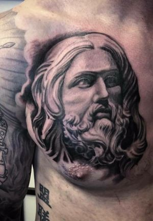 Done by Bram Koenen- Resident Artist.                          #tat #tatt #tattoo #tattoos #amazingtattoo #ink #inked #inkedup #amazingink #chesttattoo #chestpiece #blackandgrey #blackandgreytattoo #blackandgreytattoos #potrait #tattoolovers #inklovers #art #culemborg #netherlands