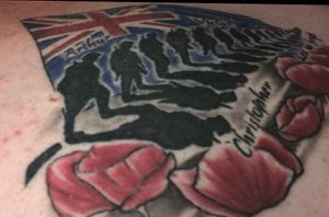 Soilder Fern with NZ flag and ANZAC poppies. Lest we forget