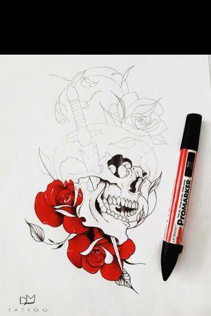 Skull and roses! #art #artists #tattoo #tattooartist #draw #drawing #drawings #tattoos #tattooink #ink #inkedgirls #tattooer #tattooed #inkdrawing #follow4follow #followforfollow #like4like #likeforfollow #likeforlike #skulltattoo #skullandroses #rosetattoo