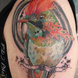 #bird #color #feathrrs sitting on a branch - #tattoo by #artist #keltaittattoo @kel.tait.tattoo