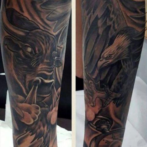 These are awesome. #tattoo #bulltattoo #bull #eagletattoo #eagle #blackwork #blackandgrey