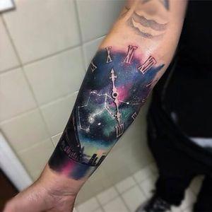 Artist unknown#clock #sky #stars #cityscape