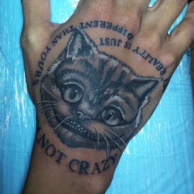 """""""I'm not crazy. My reality is just different than yours"""" - Alice in Wonderland #brooklyn #tattoo #besttattoos #tattoooftheday #besttattooartists #newyork #nyc #Tattoodo #handtattoo #aliceinwonderland #AliceinWonderlandtattoo #crazytattoo #details"""