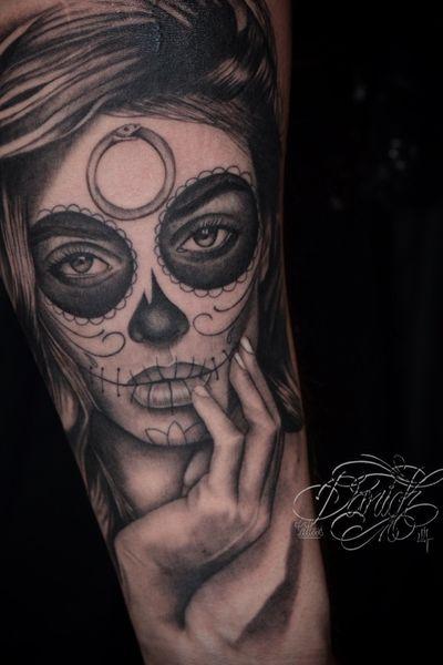 Catrina . darick-tattoos.com #catrina #tattooartist #tattooart #chicano #blackandgrey #art #tattoo