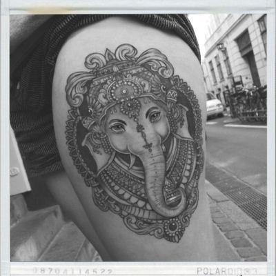 Black and grey Ganesha done by our resident artist Jones #ganesha #elephanttattoo #buddism #tattoo #tattoooftheday #elephant