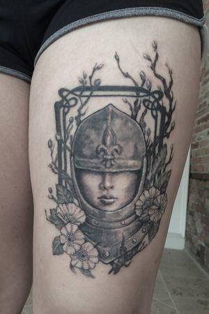 Joan of Arc/female/warrior /blossoms/ blackandgrey