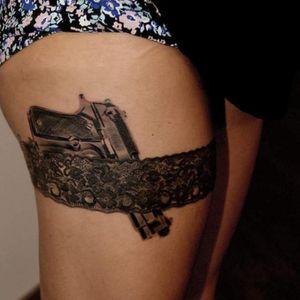 Artist #marconigiotti #gun #garter #lace