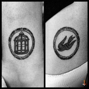 No.90 Cage&Bird #tattoo #bioshock #bioshocktattoo #cage #bird #pendant #littletattoo #lines #freedom #bylazlodasilva