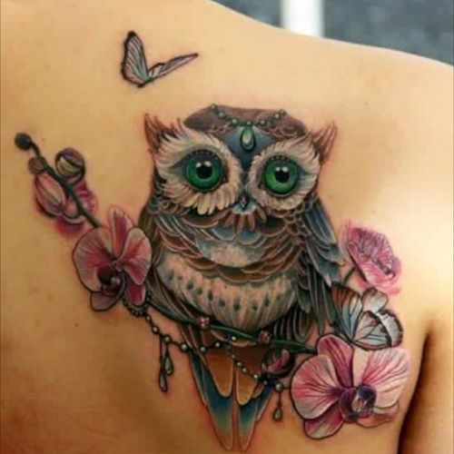 #owl #flowers #butterfly #pretty