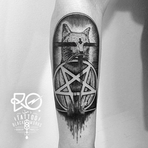 By RO. Robert Pavez • Black cat I • #engraving #dotwork #etching #dot #linework #geometric #ro #blackwork #blackworktattoo #blackandgrey #black #tattoo #cat