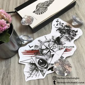 For comissions and more designs www.skinque.com #compass #realistic #tree #trees #eye #bird #raven #birds #tattoo #tattooart #abstract #trashpolka #bird #nature #life #death