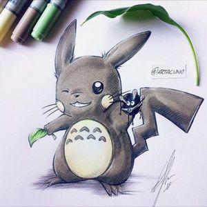 Totoro in Pikachu style tattoo design #totoro #anime #pokemon
