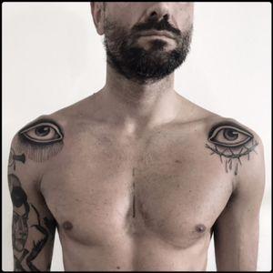 #black #eyes #barbedwire #tattoo #blackwork #totemica #ontheroad