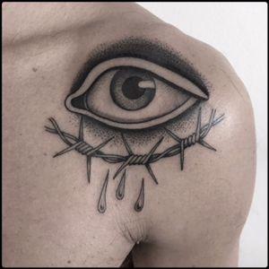 #black #eye #barbedwire #tattoo #blackwork #totemica #ontheroad