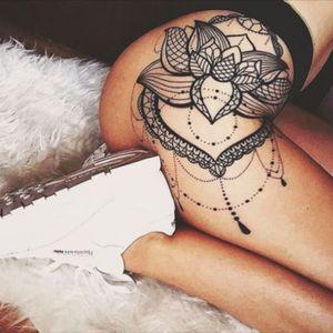 Beautiful lace blackwork tattoo 💎 #lace #fineline #geometric #flower #reebok #mandala #blackwork via Instagram @nantia_m