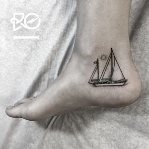 By RO. Robert Pavez • Tiny Sailboat • Studio Nice Tattoo • Stockholm - Sweden 2016 • Please! Don't copy® • #engraving #dotwork #etching #dot #linework #geometric #ro #blackwork #blackworktattoo #blackandgrey #black #tattoo