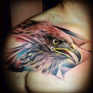 Falcon; abstract; colored; Designer and Artist: David Icaza @ Stefano's Tattoo Gallery, Lima, Peru
