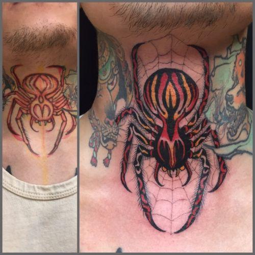 drawn on #spidertattoo #japanesetattoo #traditionaljapanese #necktattoo #tattoos #spider #tattooartist